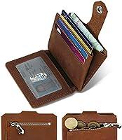 DODENSHA Kaarthouder met muntvak, portemonnee voor heren, van leer, creditcardhouder, aluminium, portemonnee met...