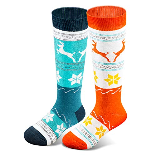 Kids Ski Socks for Boys Girls, Thick Warm for Winter Snow Skiing Snowboard Sports(2 Pairs/ 3 Pairs) (2 Packs (Orange + Green), XS)