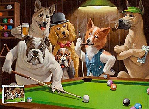 Houten puzzel 1000 stukjes,honden Die Pool Spelen Biljart Snooker Puzzel Kinderen Volwassenen Uniek Ontwerp 1000 Stukjes Houten Puzzels