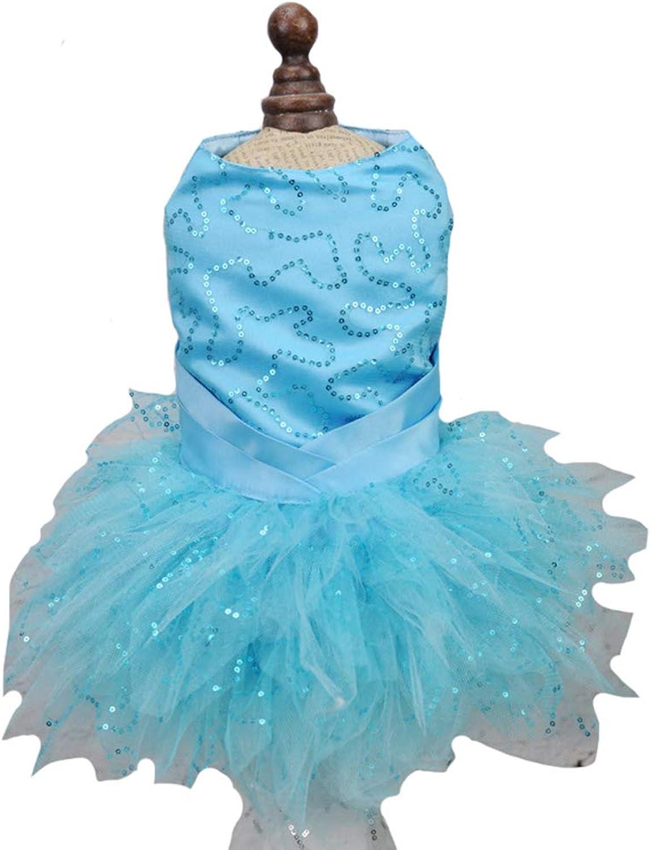 Princess Wedding Dresses Cute Sweet Small Dog Sequin Lace Tutu Skirt Flower Dog Pet Cat,bluee,M