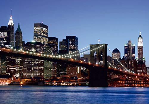 AG Design FTS 0107 Brooklyn Bridge New York, papieren fotobehang - 360x254 cm - 4 stuks, papier, multicolor, 0,1 x 360 x 254 cm