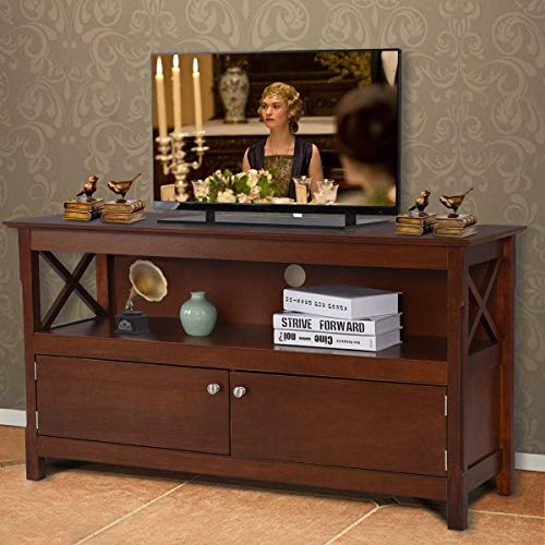Tangkula Wood TV Stand, Modern Multipurpose Home Furniture Storage Console Entertainment Media Center (Brown)