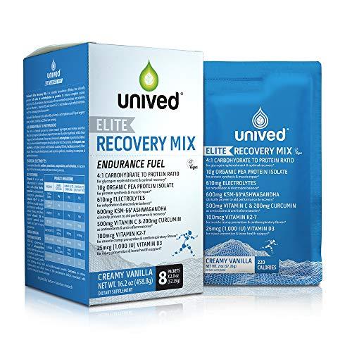 Unived Elite Recovery Mix, 4:1 Ratio, 10g Organic Pea Protein, 610mg Electrolytes, 600mg KSM-66 Ashwagandha, 500mg VIT C, 200mg Curcumin, 100mcg VIT K2-7, 1000IU VIT D3, Creamy Vanilla