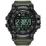 Simshew Inseguitore di Fitness SMAEL 1617B Orologio Intelligente da Uomo con Orologio Digitale Sportivo Bluetooth Caloria Frequenza cardiaca e monitoraggio del Sonno (Color : Army Green)