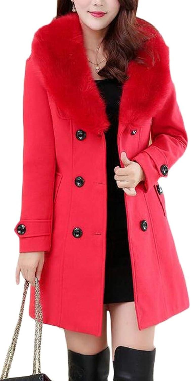 WAWAYA Womens Warm Winter Double Breasted Faux Fur Collar Trench Jacket Pea Coat Overcoat