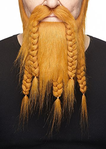 Mustaches Self Adhesive, Novelty, Viking Dwarf Fake Beard, False Facial Hair, Costume Accessory for Adults, Ginger Color
