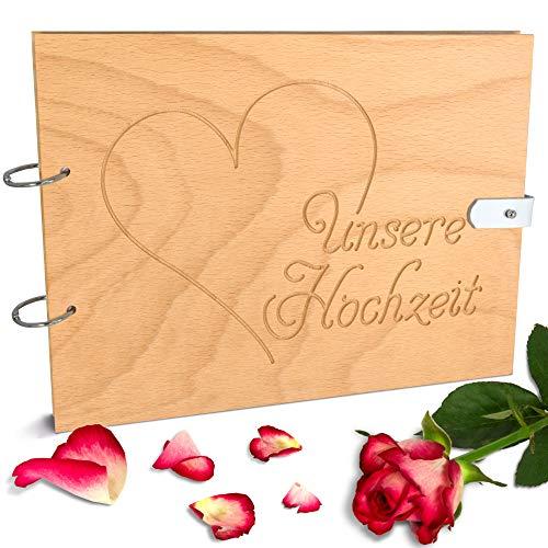 Handgearbeitetes Gästebuch zur Hochzeit aus Holz mit Gravur & Lederverschluss - 150 Seiten / 75 Blatt DIN A4 Papier - 310 x 230 mm (Querformat, Herz)