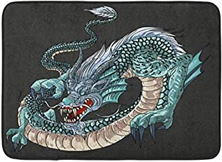 SZZWY Red Water Blue Dragon Painting for Japanese Tattoo is Symbol of Power Abstract Background Pattern Flannel Bath Rugs Prevent Shifting Super Absorbent 3D Printing 60x40cm