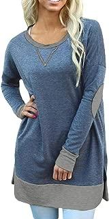 Soulomelody Womens Tops Long Sleeve Shirt Fall Clolor Block Elbow Patch Casual Loose Shirts Tunics