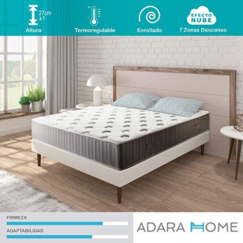 Adara Home Pandora - Colchón Viscoelástico Naturgel 90x190, Especial Transpirable y termoregulable