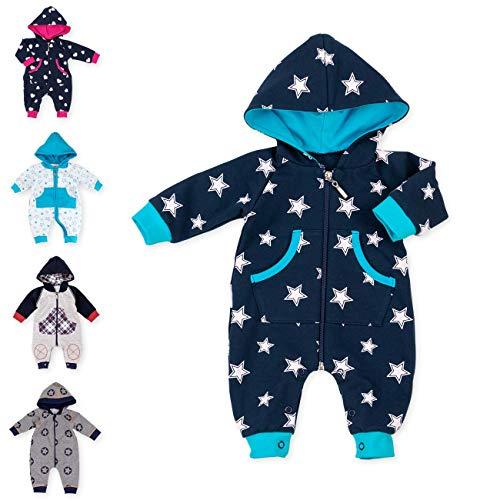 Baby Sweets Baby Overall Jumpsuit mit Kapuze für Jungen in Dunkelblau Türkis im Stern-Motiv/Babystrampler als Overall für Baby und Kleinkind für Outdoor und Indoor in Größe: 3 Monate (62)