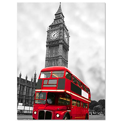 LiMengQi2 Póster Carteles nórdicos e Impresiones Pinturas para Pared de salón Arte imágenes Decorativas Lienzo Impreso Ciudad Londres París Paisaje (No Frame)