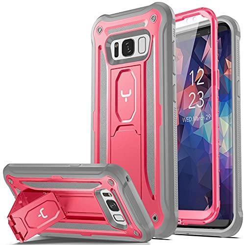 YOUMAKER Schutzhülle mit Ständer für Samsung Galaxy S8 5,6 Zoll, integrierter Bildschirmschutz, strapazierfähig, stoßfest, robust, Pink/Grau