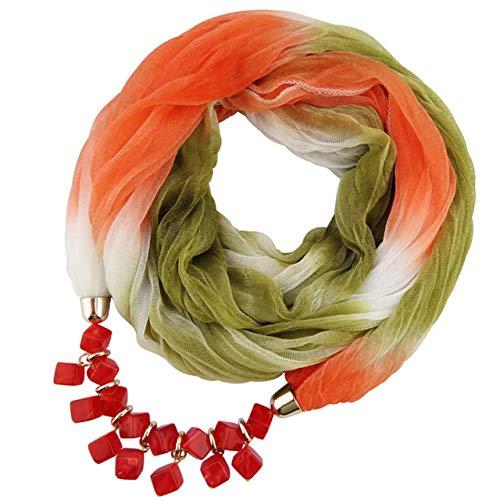 HOSD Frauen Anhänger Schal Mit Chiffon Strass Schmuck Schals Schrittweise Farbige Bufandar Schal Frauen Poncho C Vereinigten Staaten