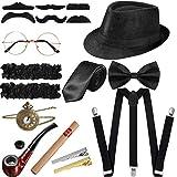 SATINIOR 1920s Men Costume Accessories Set Roaring Retro Gangster Costume, Hat, Bow Tie, Pocket Watch, Suspender, Glasses, Beard, Armband Garters, Tie Clips, Pocket Watch (Black)