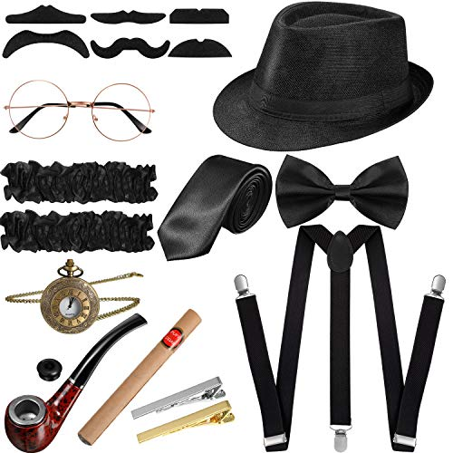 SATINIOR 1920s Men Costume Accessories Set Roaring Retro Gangster Costume, Hat, Bow Tie, Pocket Watch, Suspender…