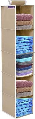 PrettyKrafts 5 Tiers Clothes Hanging Organizer, Wardrobe for Regular Garments, Shoes Storage Cupboard, Hanger Bag - Grey