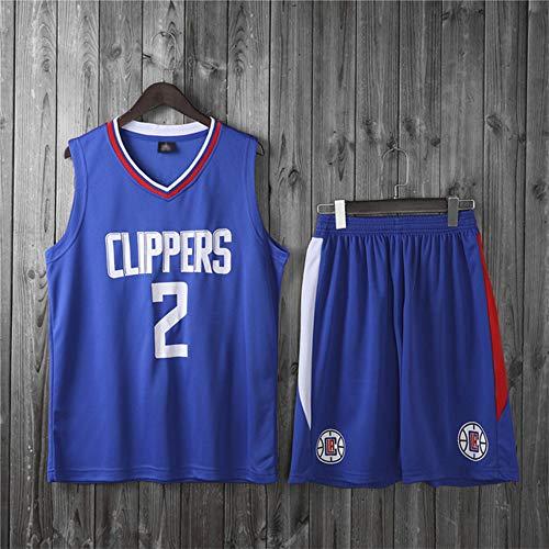 Wo nice Uniformes De Baloncesto para Niños, Los Angeles Clippers # 2 Kawhi Leonard Fans De La NBA Jersey Trajes Casuales Tops Camisetas Sueltas Vestidos Transpirables + Pantalones Cortos