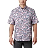 Columbia Camisa de Manga Corta PFG Super Tamiami para Hombre, protección Solar UPF 40, Super Tamiami™ SS, Hombre, 1438961, Impresión de Onda de Pescado Blanco, M