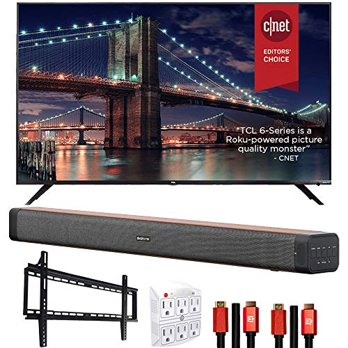 TCL 55R635 55-inch 6-Series 4K QLED Dolby Vision HDR Roku Smart TV Bundle with Deco Home Soundbar with Dual Subwoofers, Wall Mount, 2X Deco Gear HDMI Cable, 6-Outlet Surge Adapter with Night Light