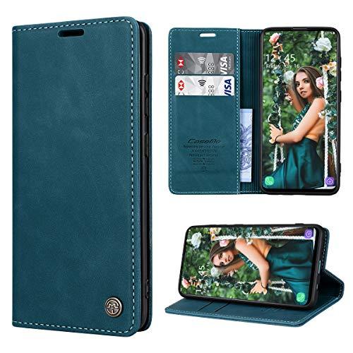 RuiPower Handyhülle für Samsung Galaxy A51 Hülle Premium Leder PU Flip Hülle Wallet Lederhülle Klapphülle Magnetisch Silikon Bumper Schutzhülle für Samsung Galaxy A51 Tasche - Blaugrün
