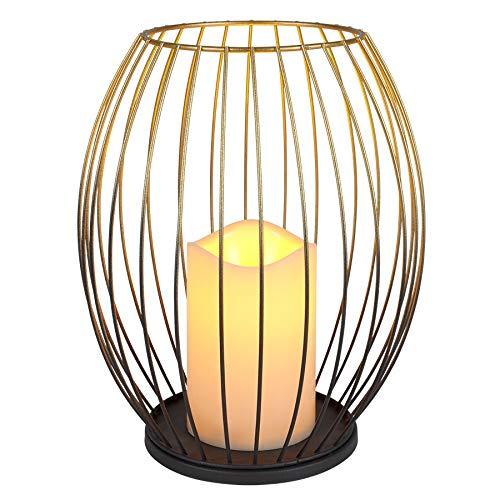 Spetebo Metall Laterne Gold inkl. LED Kerze - 23,5 cm - Batterie Deko Leuchte Tisch Lampe mit Timer