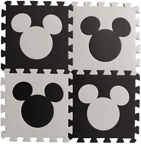 Puzzle de Jeu pour bébé Tapis 8 Pièces Interlocking Mousse Carreaux grossira Crawling Playmats Vie Douce Rotective Tapis bébé Aire de Jeux Protection Playroom,Mickey