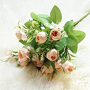 Fake Plants Magnolia Artificial Flowers Small DIY Tea Rose Silk Flower White, Bride Bouquet for Home Wedding Fake Flowers Decoration Fake Flower (Color : Pink)