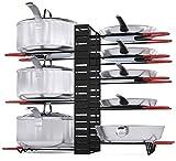 Pot Rack Organizer, 3 DIY Methods, Height and Position are Adjustable 8+ Pots Holder, Black Metal Kitchen Cabinet Pantry Pot Lid Holder