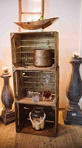 Geflammte Holzkisten im Set-Angebot: Originale, Vintage Obstkisten Apfelkisten aus dem Alten Land zum Möbelbau oder Dekoration mit den Maßen 50 x 40 x 30cm (3er Set) - 6