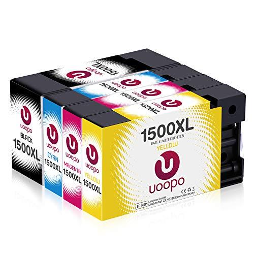 Uoopo 1500XL Patronen Kompatibel für Druckerpatronen Canon PGI-1500XL PGI-1500 XL für Canon MAXIFY MB2000 MB2050 MB2150 MB2155 MB2300 MB2350 MB2750 MB2755, Multipack (Schwarz, Blau, Rot, Gelb)