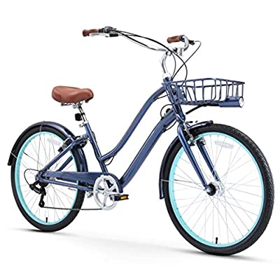 """sixthreezero EVRYjourney Women's Casual Edition 7-Speed Cruising Hybrid Bike w/Integrated Cable Lock, Light and Basket, 26"""" Bicycle, Navy with Brown Seat and Brown Grips"""