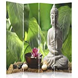 Feeby Frames. Raumteiler, Gedruckten auf Canvas, Leinwand Wandschirme, dekorative Trennwand, Paravent einseitig, 4 teilig (145x150 cm), Buddha, Kultur, Zen, MODERN, BLATTGRÜN, Kerzen