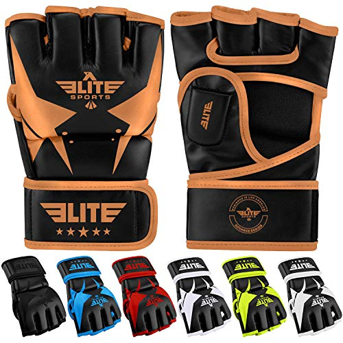 MMA UFC Gloves for Men, Women, and Kids, Elite Sports Best Mixed Martial Arts Sparring Training Grappling Fighting Gloves (Copper/Black, Small)