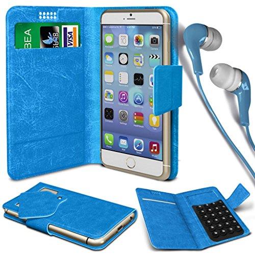 N4U Online®-AMAZON FUEGO Teléfono piel sintética ventosa carpetas de buzón de Protectora Y de 3,5mm de auriculares estéreo Auriculares-Azul