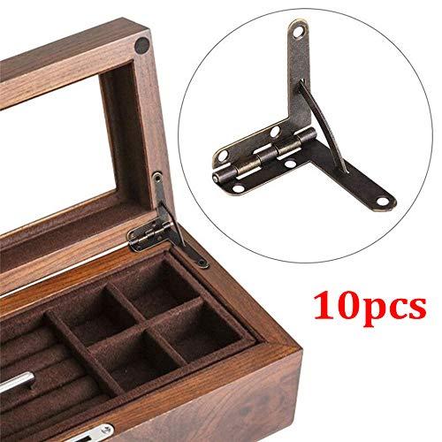 Turbobm 10 Piezas 90 ° ángulo Caja de Madera Compatible con bisagra para pequeña joyería de Madera Caja de Vino Caja de Reloj Tapa de Madera