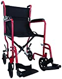 Aidapt Compact, Lightweight Folding Steel Transit Wheelchair with SOLID WHEELS. Lap Strap included