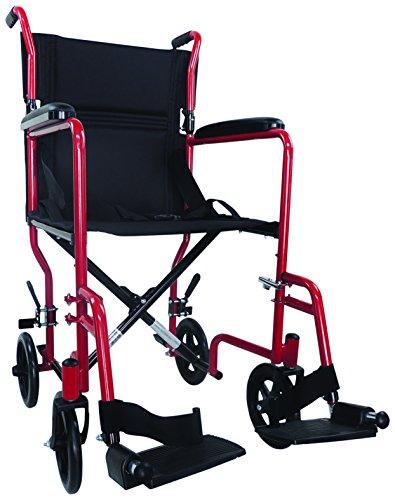 Aidapt VA171RED Kompakter Transport-Rollstuhl aus Stahl