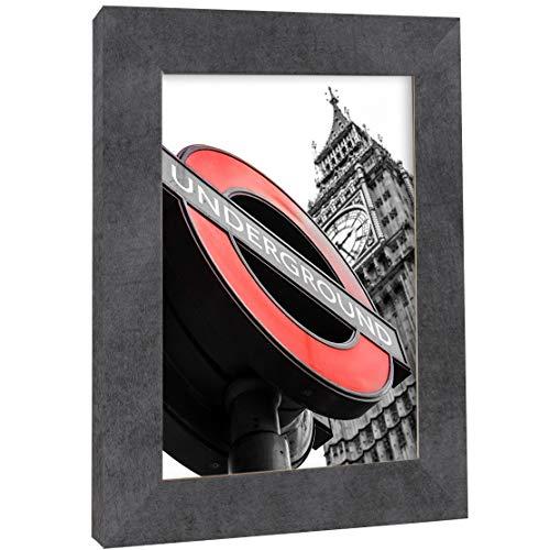 Ramka na zdjęcia, 70 x 90 cm, beton, ramka na zdjęcia do zawieszenia, płyta MDF, 40 różnych rozmiarów do wyboru, bez passe-partout, ramka Londyn