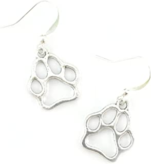 Silver Paw Print Charm Earrings - Dog Lover