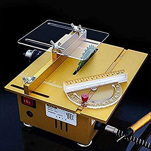 SLWXZXD Mini-Tischsäge, tragbare Tischsäge, handgefertigte Holzbearbeitungsbank, Drehbank, elektrischer Polierer, Schleifer, Schneidsäge DIY Modell, Handwerk Schneidwerkzeug (Gold)