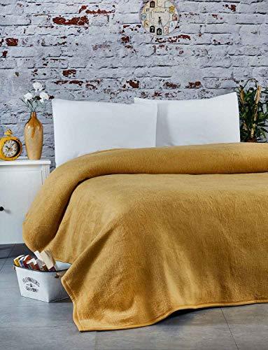 Buymax Kuscheldecke 155x210 cm Warme Couchdecke Tagesdecke Wohndecken Sofadecke Super Flausch Fleecedecke als Sofaüberwurf, Farbe Ocker Gelb