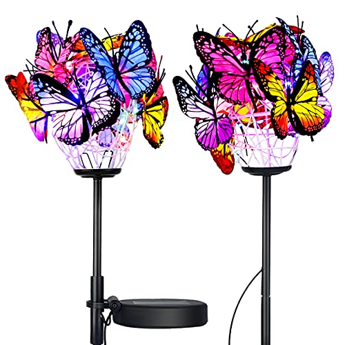 Solar Lights Outdoor Decorative, 2 Packs Solar Garden Decor Lights with Multi-Color, Solar Powered Butterfly Stakes Lights with Copper String for Patio, Lawn, Garden, Yard Decoration