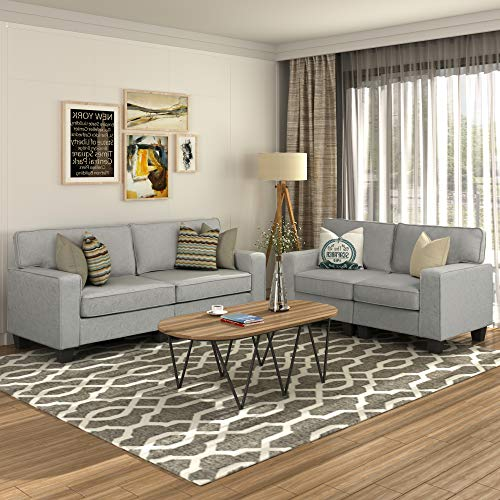 2 Piece Sofa Sets, Living Room Sofas and Couches, Morden Style Livingroom Furniture Set Loveseat (Gray)