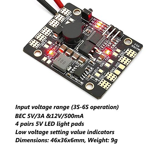 Matek PDB BEC 5V/3A&12V/500mA Power Distribution Board für 180 250 210 FPV Racing RC Drone Quadcopter by LITEBEE ( 46mm*36mm )