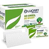 Lucart Professional - Toallitas de Papel Desechables Plegadas en Z, Embalaje de Papel Ecológico - Papel Reciclado Certificado FSC - 2 Capas - Tamaño 23,5x23 cm - 15 Paquetes de 198 Toallitas
