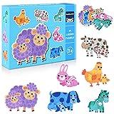 GrandEver 33 Piezas Puzzles de Madera Educativos Juguetes Bebes,Colorido Rompecabezas de Madera Juguetes de Inteligencia para niños 3-6 años (Animales Entre Padres e Hijos)