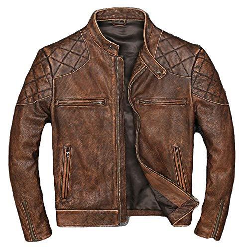 color marr/ón. DC-4092 Chaqueta de piel para motorista con armadura para hombre