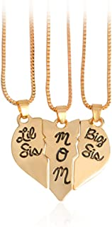 Fashion 3 Pcs Mother and Daughter Puzzle Dog Tag Necklace Jewlery Big Sis mom Lil Sis Letter Matching Engraved Necklace Set