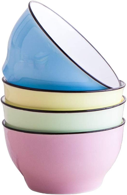 XuQinQin Bol à bouillie en céramique de couleur pure coréenne simple et créative - 5 couleurs au choix, 3 tailles bol (Couleur   Mixed Couleur, Taille   11.4  6cm)